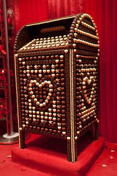 Mailbox  This oversized mailbox is made entirely of Godiva chocolate and is adorned with hearts made of white chocolate truffles. It was created for Godiva's 2011 Valentine's Day celebration at its Fifth Avenue flagship boutique in New York City.