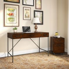 kathy ireland by Bush Furniture Ironworks Writing Desk with 2 Drawer File Cabinet - IW001CC