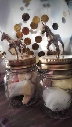 handmade gold unicorn jar with marshmallows by CreationsByKleo