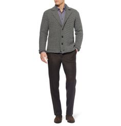 Shop this look on Lookastic: http://lookastic.com/men/looks/brown-chelsea-boots-and-brown-dress-pants-and-grey-shawl-cardigan-and-purple-longsleeve-shirt/284 — Brown Suede Chelsea Boots — Brown Dress Pants — Grey Shawl Cardigan — Purple Long Sleeve Shirt