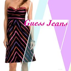 NWT 100% Silk Fiona Dress by Guess Jeans Size 9 Party perfection. The little black dress gets a bright pop of color in this strapless head-turner. Sweetheart neckline with empire waist. Form fitting Size 9. Side zip. Lined. 100% silk. Professionally clean only. Style number Y8472000 Guess Dresses Strapless