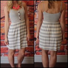 """NWT Grey Dress with Button Trim on Front NWT. Purchased from awesome boutique posher. Very soft and stretchy mini dress. Button trim-non functional. True to size. Great to layer or wear alone. 96% rayon 4% spandex. Laying flat. 16"""" bust and 34"""" length. Dresses Mini"""