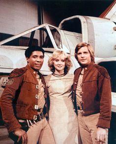 Lt. Boomer (Herbert Jefferson Jr.), Cassiopeia (Laurette Spang), & Lt. Starbuck (Dirk Benedict) - Battlestar Galactica (1978-79)