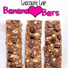 Chocolate Chip Banana Love Bars Recipe Desserts with rolled oats, salt, protein powder, peanut butter, mashed banana, chocolate chips