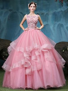 Nice Bateau Ball Gown Beading Lace Pick-Ups Floor-Length Quinceanera Dress & fairy Ball Gown Dresses Ball Gown Dresses, Prom Dresses, Formal Dresses, Victorian Ball Gowns, Cheap Quinceanera Dresses, Renaissance Dresses, Medieval Dress, Quince Dresses, Sweet 16 Dresses