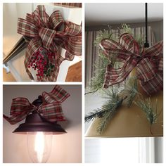 simple ways to decorate with ribbon at Christmas Elegant Christmas Decor, Simple Christmas, Christmas Wreaths, Christmas Decorations, Holiday Decor, Simple Way, Party Planning, Ribbon, Interior Design