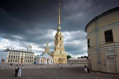 Cathedral of Ss. Peter and Paul in the middle of the Peter and Paul Fortress in St Petersburg, Russia