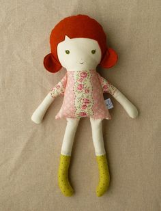 Fabric Doll Rag Doll with Red Hair.