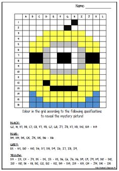 30 Worksheets Coloring A Grid 2 5 Mystery Picture Coloring Grid 2 Mystery Picture Pack The kids can enjoy Number Worksheets, Math Worksheets, Alphabet Worksheets, Colo. Maths Puzzles, Math Worksheets, Math Activities, Pixel Art, Minion Classroom, Minions, Mystery, Grande Section, Coding For Kids