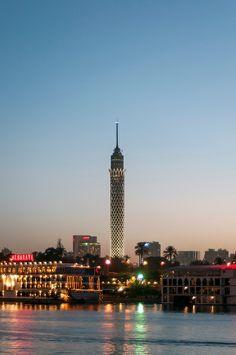 Borg al-Qahira (Cairo or Lotus Tower) Rising 187m above Gezira Island at Dusk, Nile Waterfront, Cairo (Egypt)   Petr Svarc Images