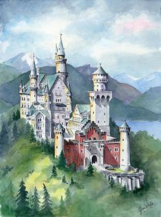 Neuschwanstein Art Print by Jean Walker White. All prints are professionally printed, packaged, and shipped within 3 - 4 business days. Choose from multiple sizes and hundreds of frame and mat options. Castle Drawing, Castle Painting, Castle Sketch, Art Watercolor, Watercolor Illustration, Castle Tattoo, Castle Illustration, Neuschwanstein Castle, Fantasy Castle