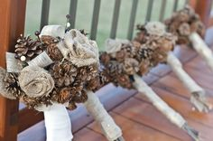 4 Pcs Burlap and Pine Cone Rustic Bouquets Flower Girl Basket off retail Pinecone Bouquet, Burlap Bouquet, Rustic Bouquet, Burlap Bows, Artificial Wedding Bouquets, Winter Wedding Flowers, Winter Wedding Inspiration, Recycled Bride, Flower Girl Basket