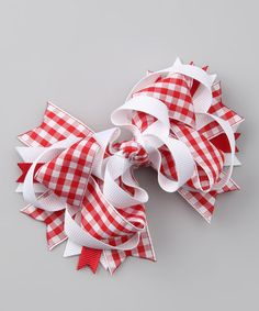 Another great find on #zulily! Red Gingham Bow Tie Clip by Picki Nicki Hair Bowtique #zulilyfinds