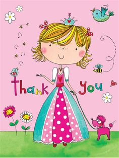 Rachel Ellen Thank You Princess Cards, Pink, Set Of 5 Thank You Images, Thank You Messages, Thank You Cards, Happy Birthday Wishes, Birthday Greetings, Birthday Cards, Unicornios Wallpaper, Thank You Card Template, Bunch Of Flowers