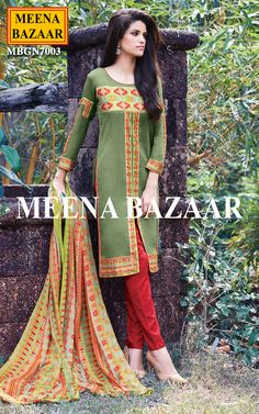 Wear this eye-catching Green cotton salwar suit. Highlighted with patch work and front slit. It is paired with matching dupatta and bottom.