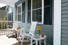 Perfectly accent your home with stylish shutters to match any era. Noted for their universal appeal, louvered shutters beautifully complement any home's curb appeal, making them an easy option for adding architectural interest or contrast to your home. Window Shutters Exterior, Louvered Shutters, Outdoor Chairs, Outdoor Furniture, Outdoor Decor, Shutter Designs, Home Designer, Vinyl Siding, Classic House