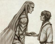 Brave little Hobbit http://princesselemmiriel.tumblr.com/post/74186635310/brave-little-hobbit-thranduil-bilbo-taken