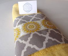 Plush Quality OneofaKind Yellow bathroom hand towel by AugustAve, $12.00