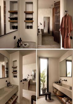hotel arquitectura In this contemporary hotel bathroom, shelves have been built into the wall, while a concrete vanity sits above a wood slat shelf. Bad Inspiration, Bathroom Inspiration, Bathroom Ideas, Restroom Ideas, Shower Bathroom, Glass Shower, Bathroom Interior Design, Decor Interior Design, Casa Cook Hotel