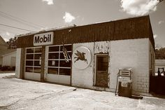 Route 66 - Rusty Mobil Station. On old Rt. 66 in Odell, Illinois.
