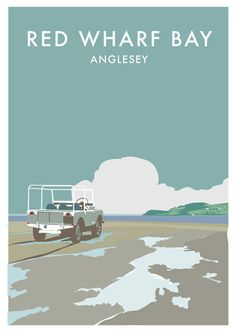Featuring a retro illustration of a 1948 Series 1 on Red Wharf Bay, Anglesey - the spiritual home of the Land Rover.  This poster is an A2 (420 x