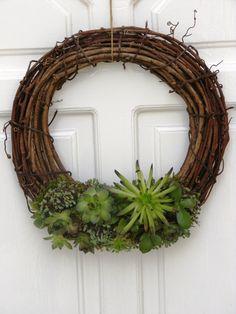Vessző ajtódísz, élő növényekkel, Dekoráció, Otthon, lakberendezés, Dísz, Kerti dísz, Meska
