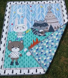 Woodland animals  play mat blanket  Crib by morethanjustquilts