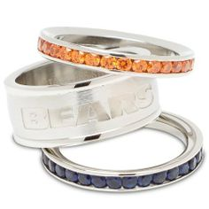 NFL Chicago Bears Logo Crystal Stacked Ring Set by Logo Art. $69.99. Officially licensed stacked crystal ring set. Team color crystal bands and center band with team logo. Packaged in leatherette gift pouch. Stainless steel. Approximate width of all 3 bands is 1/2 inch. NFL Chicago Bears Logo Crystal Stacked Ring Set