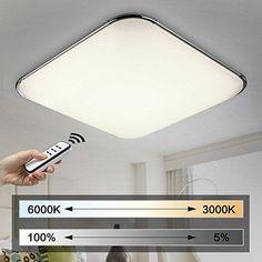 Natsen® 54W Moderne LED Deckenleuchten Wohnzimmer Deckenlampe Fernbedienung voll dimmbar Lampe (650mm*650mm)