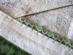 Step by step tutorial...how to crochet the edge of a towel. This could also apply to pillow cases!