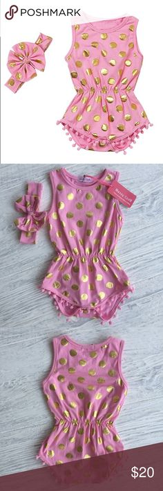 Messy Code Gold Dots Pompom Romper Adorable Messy Code pink pompom romper with gold dots and matching headband. New with tags, size Large which is 18-24M on size chart. Messy Code One Pieces