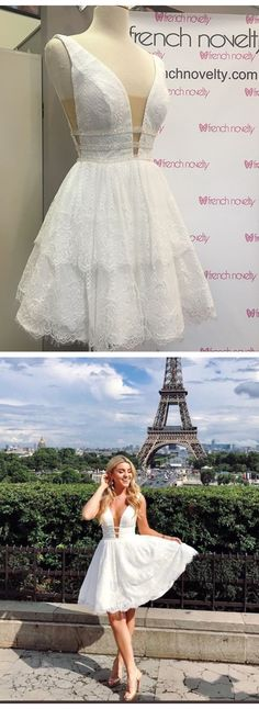 white lace homecoming dress, 2017 short homecoming dress, short lace homecoming dress, party dress, short white lace prom dress