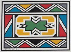 Esther Mahlangu | Works Africa Tribes, Africa Art, African Artwork, African Art Paintings, Islamic Art Pattern, Pattern Art, Pattern Dress, Pattern Design, African Logo