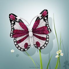 Van Cleef & Arpels Bowfly Butterfly clip - white gold, diamonds, onyx, red gold, Mystery Set™ rubies. #VCAspring #HighJewelry Discover more Flying Beauties creations: http://goo.gl/MCdZra