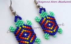 Native American Beaded Earrings - Brick Stitch - Turtles - Blue & Neon Green- Diamond