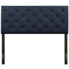 THEODORE QUEEN FABRIC HEADBOARD IN NAVY  The versatility of this element of decor emphasizes its importance. As the headboard functions as the centerpiece of your bedroom, Theodore's deep button tufting makes sure to convey a classic style that can't be dressed down. Fully upholstered in padded fabric, the Theodore headboard imbues a strong sense of style, while presenting a modern piece full of boxy lines that accessorize with many looks. #headboard