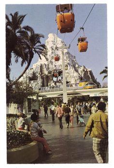 Monorail Yellow, vintage Disneyland, Matterhorn, skyway