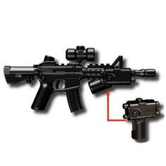 """The M4A1 Assault Rifle is the perfect tactical military gun to accessorize your combat minifigures. This tiny replica military combat rifle is approximately 1 3/8"""" (3.5cm) long and 5/8"""" (1.4cm) tall. It is made from an extremely durable ABS plastic that has been custom molded with a huge amount of detail. One of the greatest things about this plastic M4A1 tactical rifle is that it includes two extra pieces that can be removed and added at will. The first is a vertical foregrip stabilizer…"""