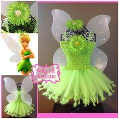 Tinkerbell Tutu Dress 6mo-4t, Fairy Tutu Dress, Pixie Dress, Birthday Dress, Halloween Costume, Toddler costume on Etsy, $55.00