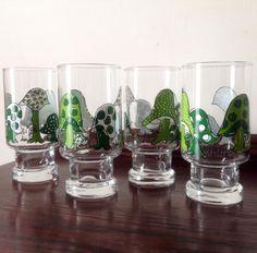 Vintage 1970s Set of 4 Hildi Mushrooms Drinking Glasses Green Anchor Hocking 424