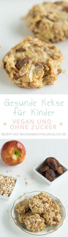 Gesunde Kinder-Kekse ohne Zucker Delicious healthy kids biscuits without sugar, egg, butter and milk. They are really nice fruity, soft and at the same time pithy. Also for adults great vegan clean eating cookies! Delicious Cookie Recipes, Baby Food Recipes, Sweet Recipes, Snack Recipes, Yummy Food, Milk Recipes, Vegan Recipes, Vegan Sweets, Healthy Sweets