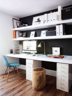 Unique Desk with Shelves Above