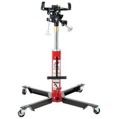 ATD-7430 1000 lbs Telescopic Transmission Jack – The extra-wide base on this ATD transmission jack lowers center of gravity and promotes stability.  Features include rugged steel wheels and full swivel ball bearing casters, a unique handy release pedal that provides safety in lowering the load, and an adjustable ratchet style saddle for quick adjustment for most pan configurations.