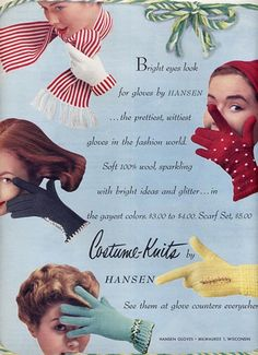 Charming vintage winter knit glove styles from Hansen. #vintage #1950s #gloves #winter