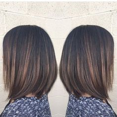 Brunette highlights and chic bob cut highlights like these. ..