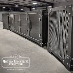 Carnegie media console with matching subwoofer enclosures, all built the same height with matching feet. Handmade in the USA #modernindustrialfurniture Modern Industrial Furniture, Media Consoles, Home Appliances, Usa, Building, Metal, Handmade, Design, Furniture