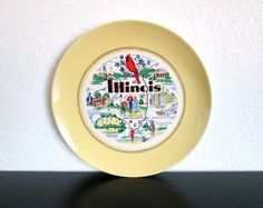 Illinois State Vintage Kitsch Decorative Souvenir Plate AtomicPutz.com