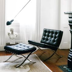 """meandmybentley: """"Composed in Ludwig Mies van der Rohe's Barcelona chair and ottoman, one of the most celebrated objects of the century, derived from a long history of precedents. Ludwig Mies Van Der Rohe, Bauhaus Interior, Lounge Furniture, Furniture Design, Poltrona Design, Barcelona Chair, Chair And Ottoman, Living Room Bedroom, Bedroom Office"""