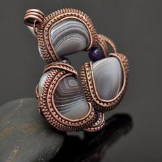 Botswana Agate and Amethyst Three Stone Wire Wrap Copper Pendant - Nicole Hanna Jewelry