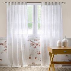 Papyrus Sheer 140x230cm Concealed Tab Top Cu White